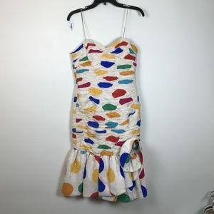 Vintage 1980's Size 6 8 Huge Polka Dot Flare Dress